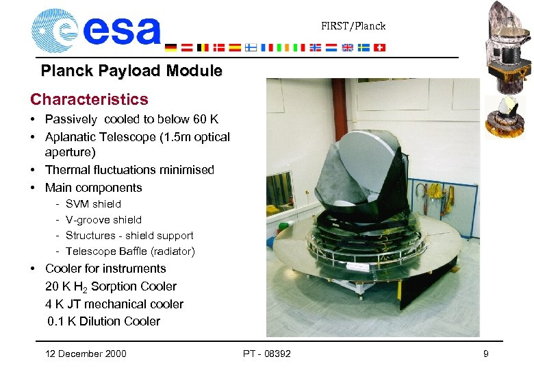 FIRST/Planck Payload Module Characteristics • Passively cooled to below 60 K • Aplanatic Telescope