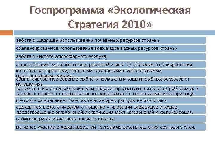 Госпрограмма «Экологическая Стратегия 2010» забота о щадящем использовании почвенных ресурсов страны; сбалансированное использование всех