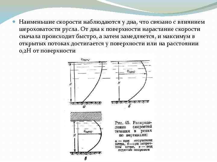 Наименьшие скорости наблюдаются у дна, что связано с влиянием шероховатости русла. От дна