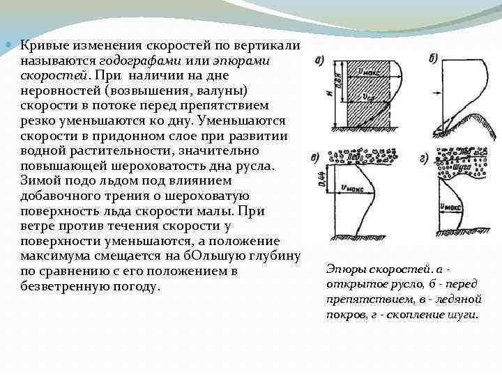 Кривые изменения скоростей по вертикали называются годографами или эпюрами скоростей. При наличии на