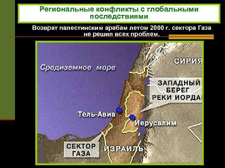 Региональные конфликты с глобальными последствиями Возврат палестинским арабам летом 2000 г. сектора Газа не