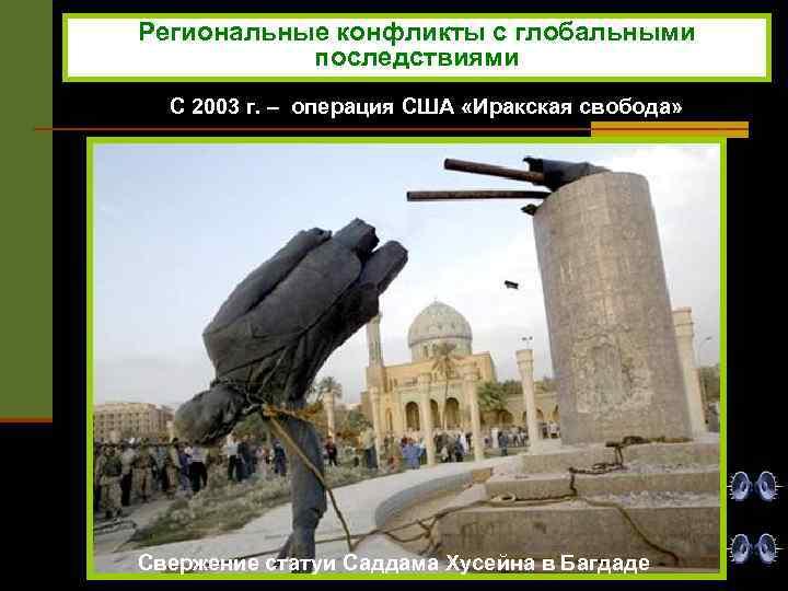 Региональные конфликты с глобальными последствиями С 2003 г. – операция США «Иракская свобода» Свержение