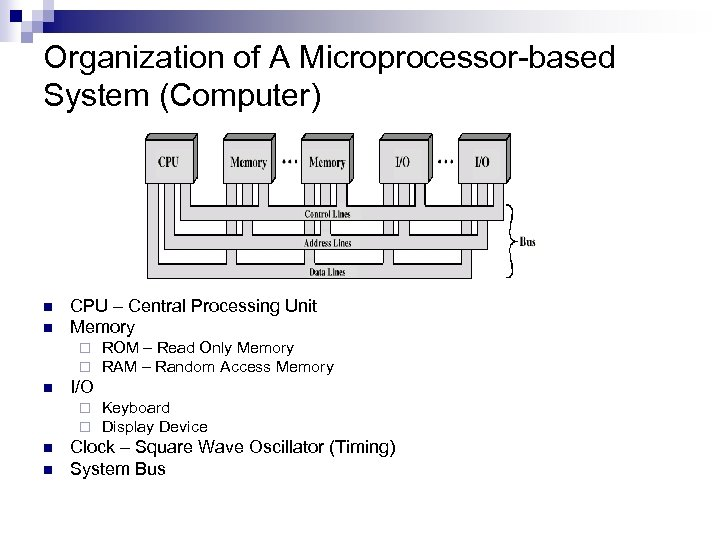 Organization of A Microprocessor-based System (Computer) n n CPU – Central Processing Unit Memory