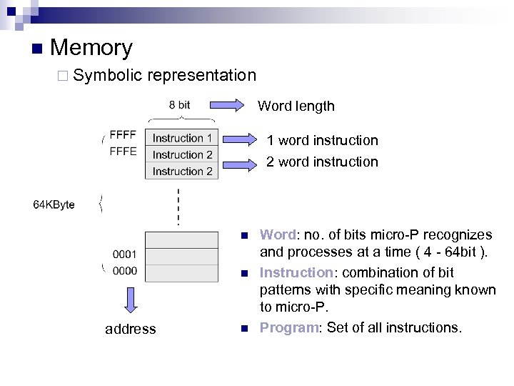 n Memory ¨ Symbolic representation Word length 1 word instruction 2 word instruction n