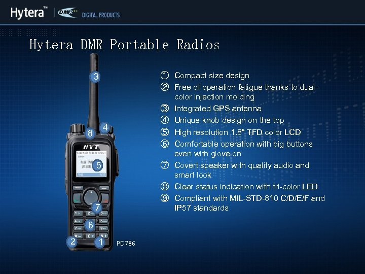 Hytera DMR Portable Radios ① Compact size design ② Free of operation fatigue thanks