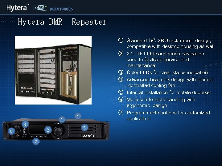 "Hytera DMR 1 3 6 2 2 7 Repeater ① Standard 19"", 2 RU"