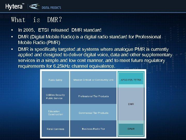 What • • • is DMR? In 2005,ETSI released DMR standard DMR (Digital Mobile