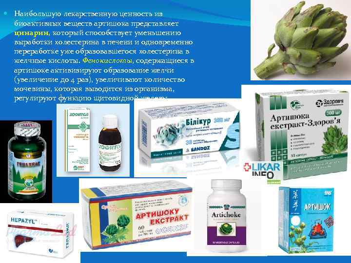 Наибольшую лекарственную ценность из биоактивных веществ артишока представляет цинарин, который способствует уменьшению выработки