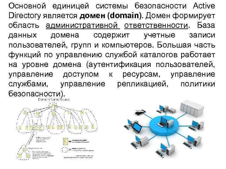 Основной единицей системы безопасности Active Directory является домен (domain). Домен формирует область административной ответственности.