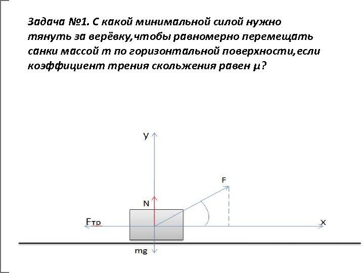 Задача № 1. С какой минимальной силой нужно тянуть за верёвку, чтобы равномерно перемещать