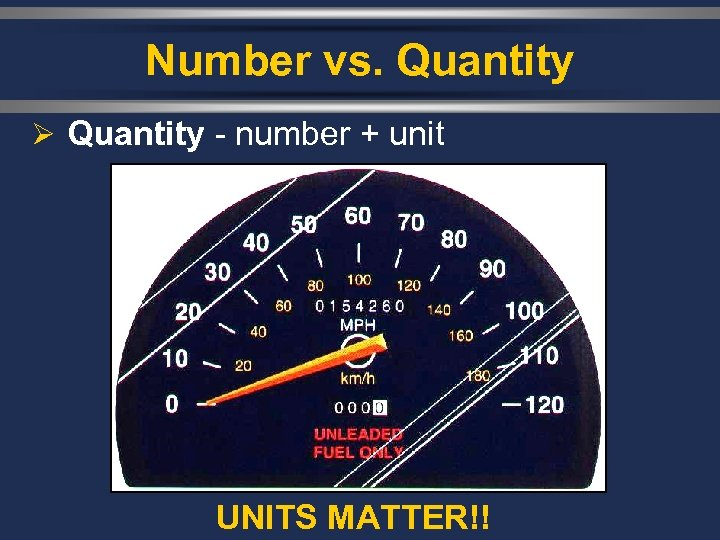 Number vs. Quantity Ø Quantity - number + unit UNITS MATTER!!