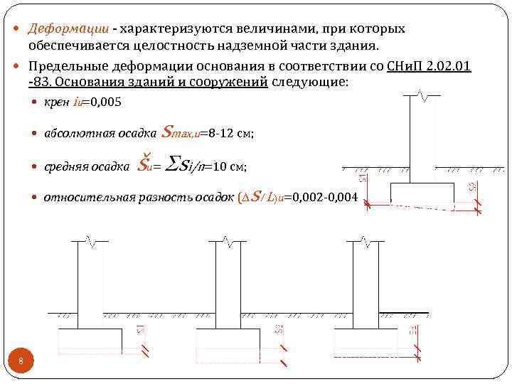Деформации - характеризуются величинами, при которых обеспечивается целостность надземной части здания. Предельные деформации