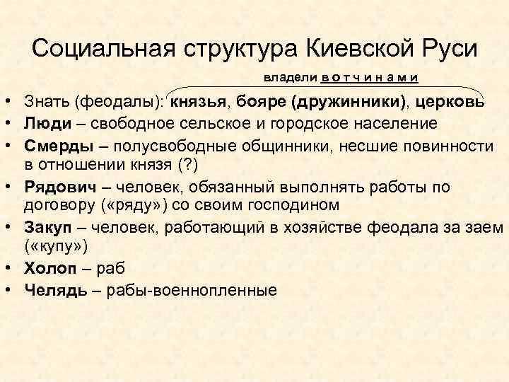 Социальная структура Киевской Руси владели в о т ч и н а м и