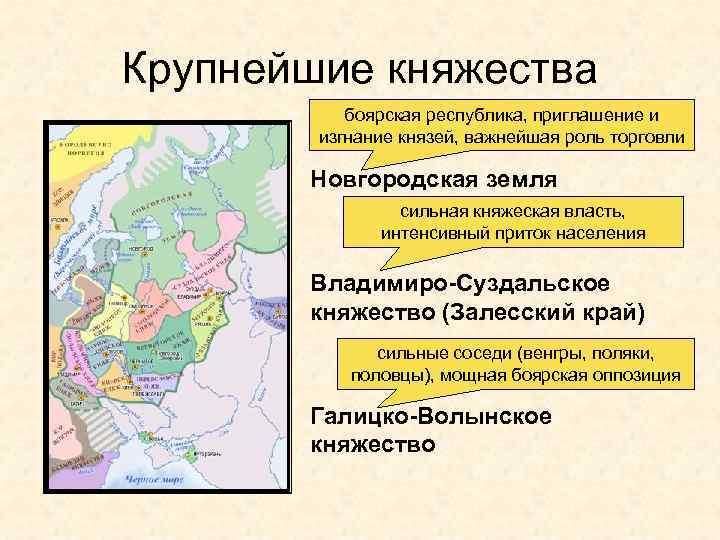 Крупнейшие княжества боярская республика, приглашение и изгнание князей, важнейшая роль торговли Новгородская земля сильная