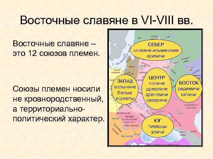 Восточные славяне в VI-VIII вв. Восточные славяне – это 12 союзов племен. Союзы племен