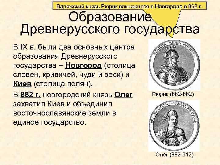 Варяжский князь Рюрик вокняжился в Новгороде в 862 г. Образование Древнерусского государства В IX