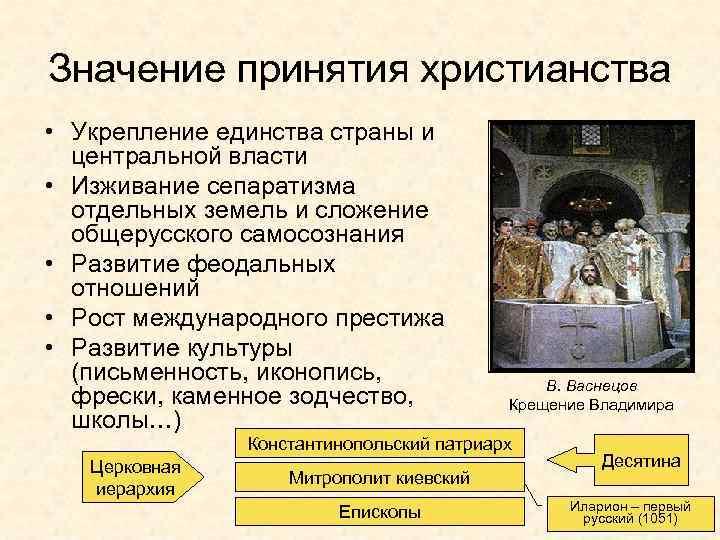 Значение принятия христианства • Укрепление единства страны и центральной власти • Изживание сепаратизма отдельных