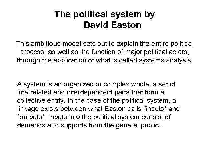 david easton politics