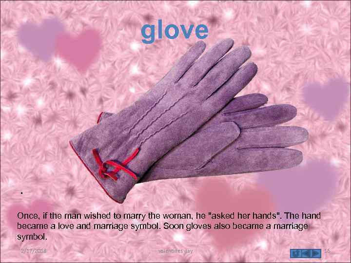 glove . Once, if the man wished to marry the woman, he