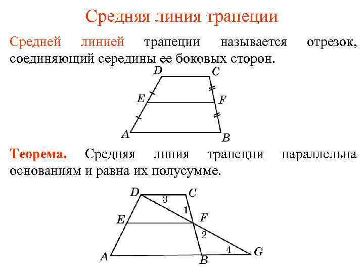 Средняя линия трапеции Средней линией трапеции называется соединяющий середины ее боковых сторон. Теорема. Средняя