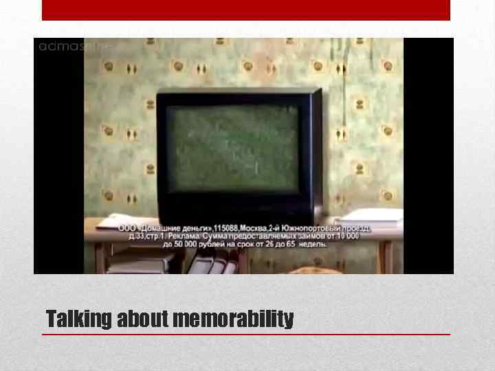 Talking about memorability