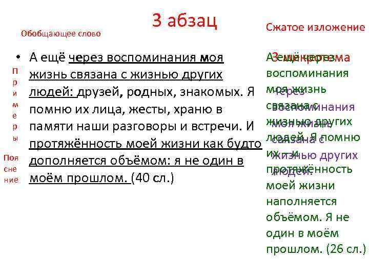 Обобщающее слово 3 абзац Сжатое изложение А 3 ещё через • А ещё через