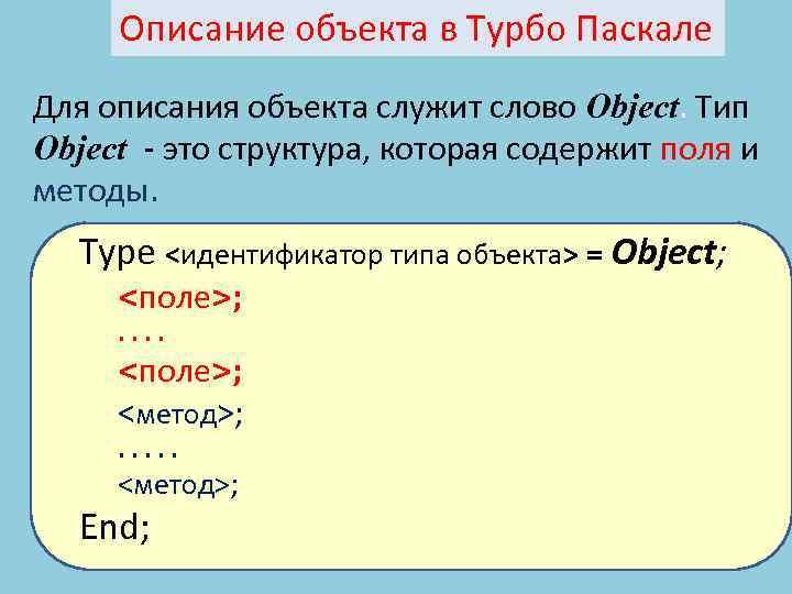Описание объекта в Турбо Паскале Для описания объекта служит слово Object. Тип Object -