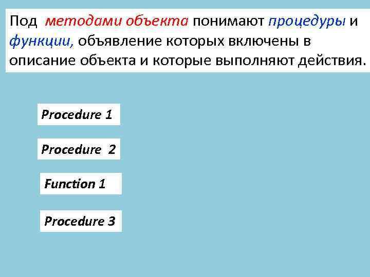 Под методами объекта понимают процедуры и функции, объявление которых включены в описание объекта и