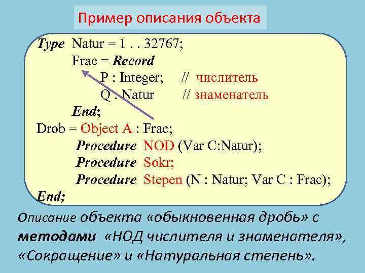 Пример описания объекта Type Natur = 1. . 32767; Frac = Record P :