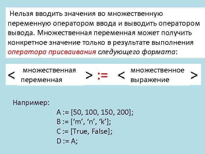 Нельзя вводить значения во множественную переменную оператором ввода и выводить оператором вывода. Множественная