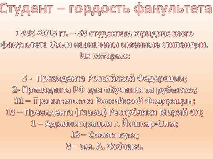 Студент – гордость факультета 1995 -2015 гг. – 53 студентам юридического факультета были назначены