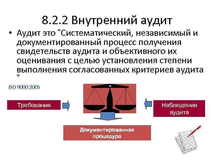 """8. 2. 2 Внутренний аудит • Аудит это """"Систематический, независимый и документированный процесс получения"""