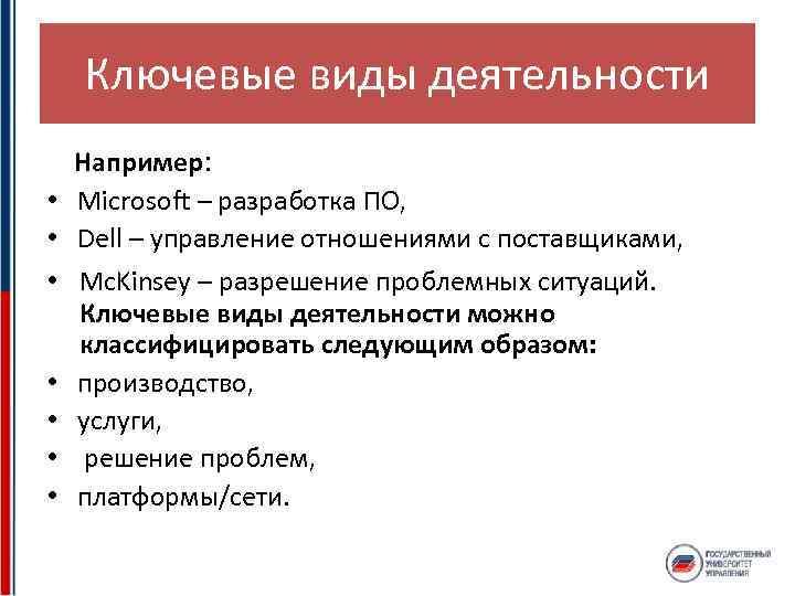 Ключевые виды деятельности • • Например: Microsoft – разработка ПО, Dell – управление отношениями
