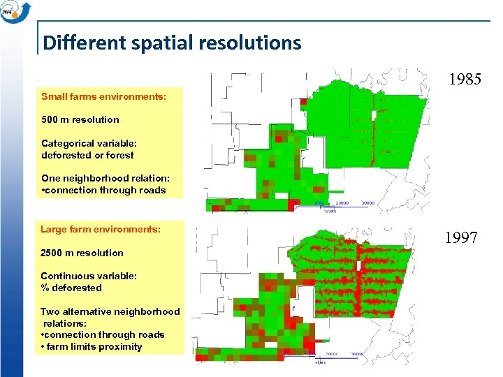 Different spatial resolutions 1985 Small farms environments: 500 m resolution Categorical variable: deforested or