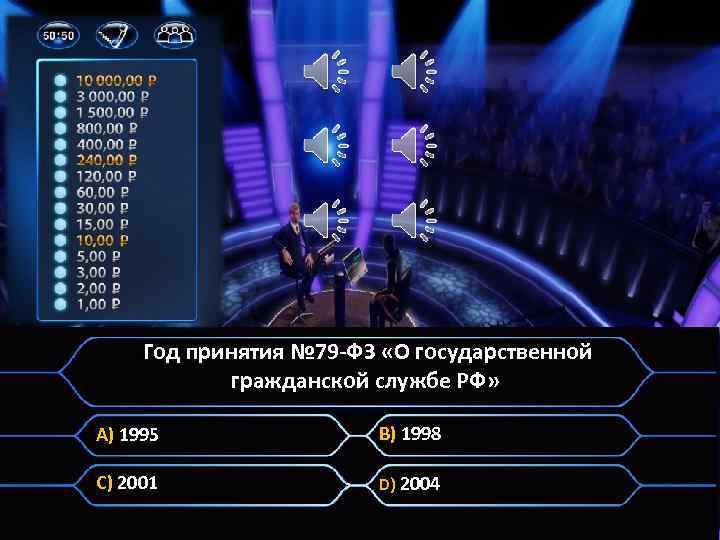 . Год принятия № 79 -ФЗ «О государственной гражданской службе РФ» A) 1995 B)