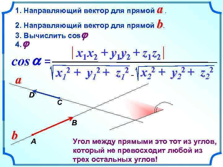 a. 2. Направляющий вектор для прямой b. 1. Направляющий вектор для прямой 3. Вычислить