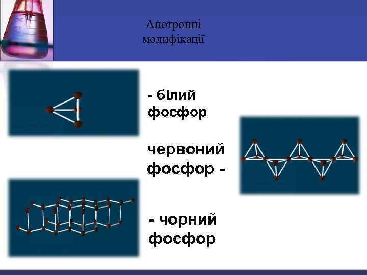 Алотропні модифікації - білий фосфор червоний фосфор - чорний фосфор