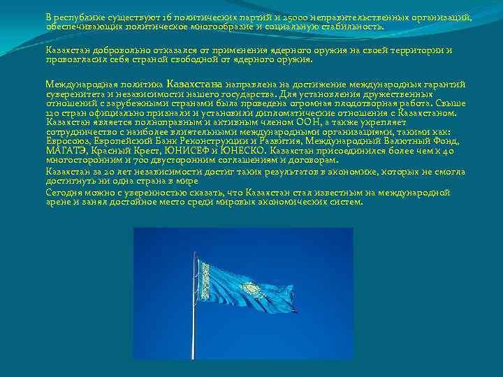 В республике существуют 16 политических партий и 25000 неправительственных организаций, обеспечивающих политическое многообразие