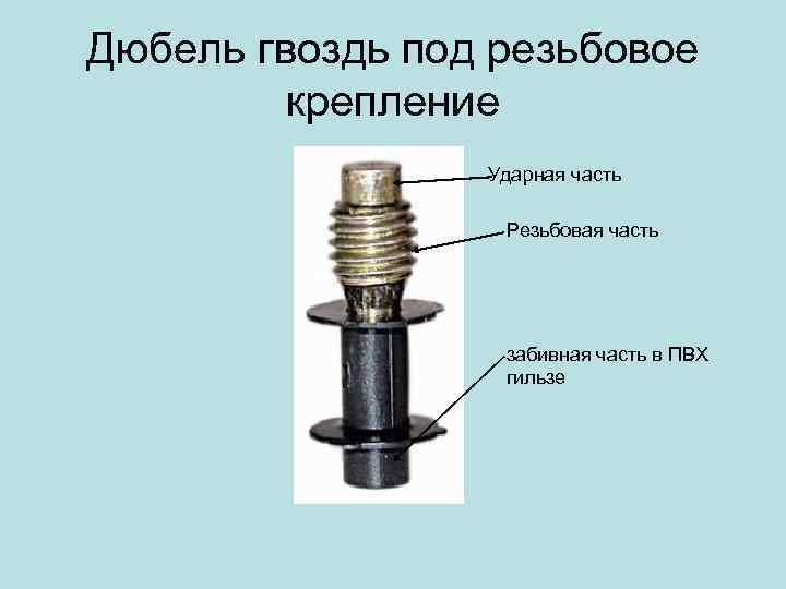 Дюбель гвоздь под резьбовое крепление Ударная часть Резьбовая часть забивная часть в ПВХ гильзе