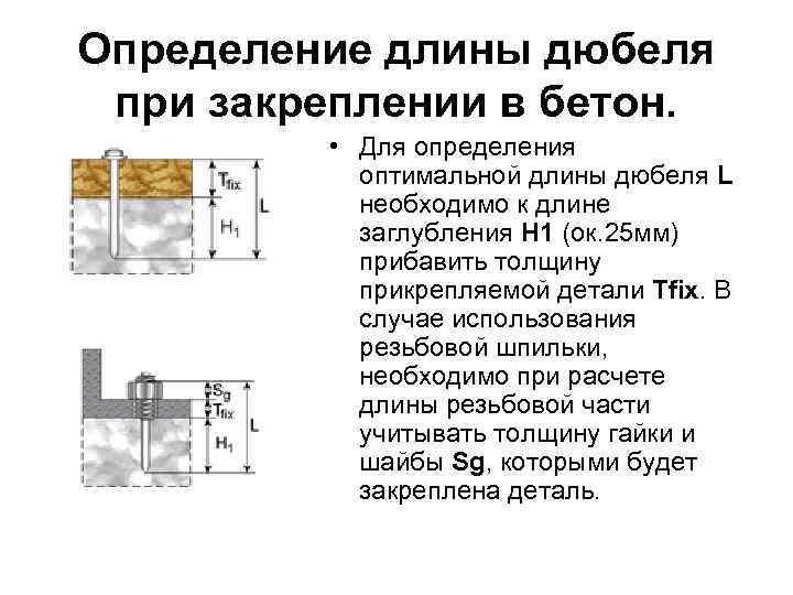 Определение длины дюбеля при закреплении в бетон. • Для определения оптимальной длины дюбеля L