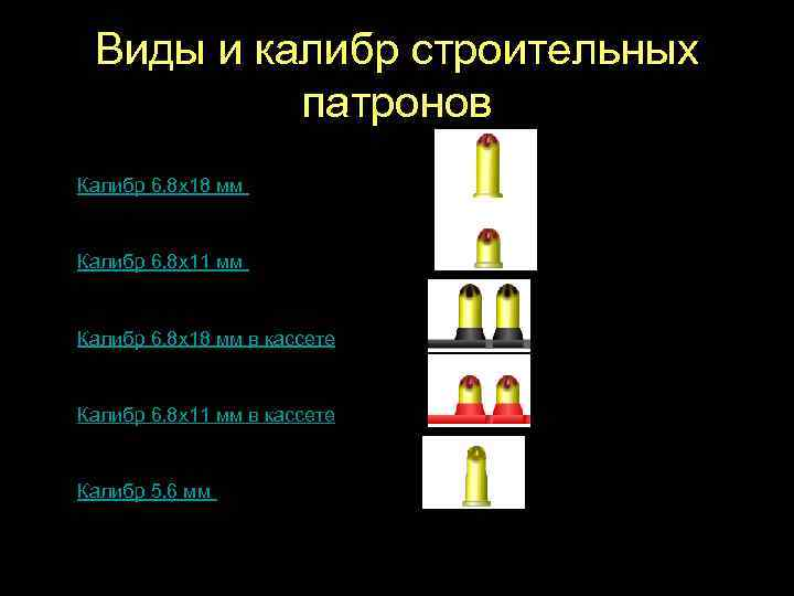 Виды и калибр строительных патронов Калибр 6, 8 х18 мм Калибр 6, 8 х11