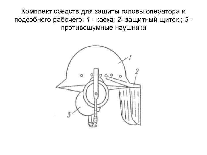 Комплект средств для защиты головы оператора и подсобного рабочего: 1 - каска; 2 -защитный