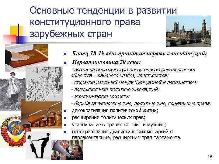 Основные тенденции в развитии конституционного права зарубежных стран n n Конец 18 -19 век: