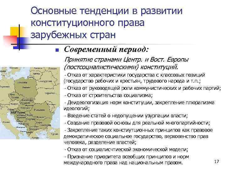 Основные тенденции в развитии конституционного права зарубежных стран n Современный период: Принятие странами Центр.