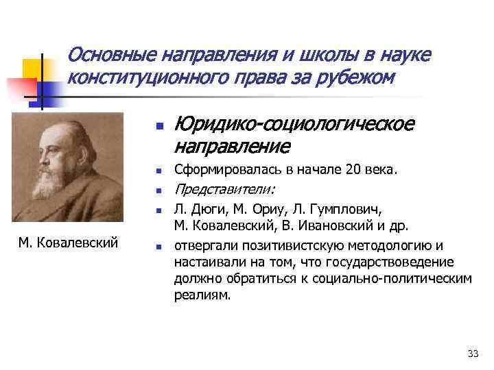 Основные направления и школы в науке конституционного права за рубежом n Юридико-социологическое направление n
