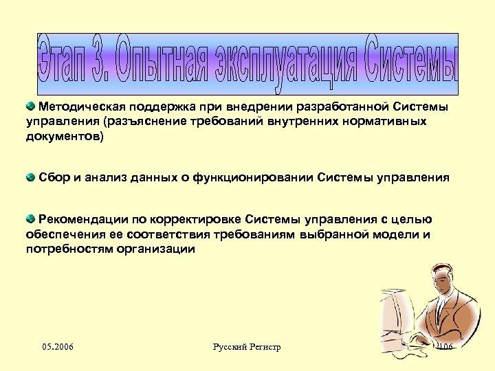 Методическая поддержка при внедрении разработанной Системы управления (разъяснение требований внутренних нормативных документов) Сбор и