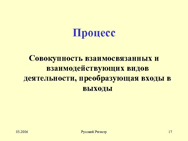 Процесс Совокупность взаимосвязанных и взаимодействующих видов деятельности, преобразующая входы в выходы 05. 2006 Русский