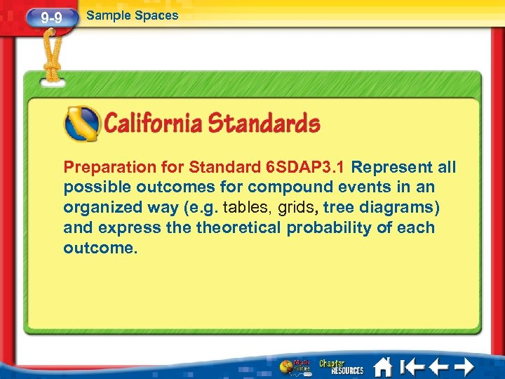 9 -9 Sample Spaces Preparation for Standard 6 SDAP 3. 1 Represent all possible