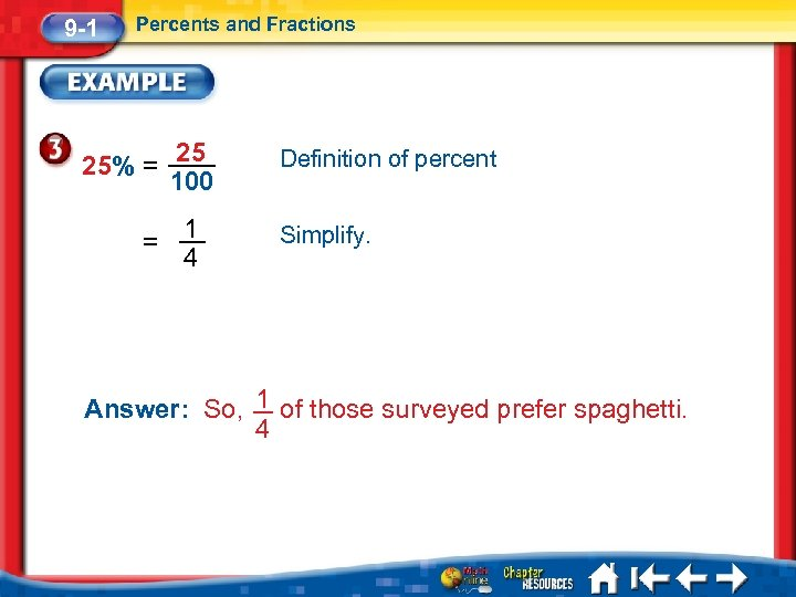 9 -1 Percents and Fractions 25% = = 25 100 1 4 Definition of