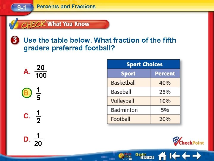9 -1 Percents and Fractions Use the table below. What fraction of the fifth